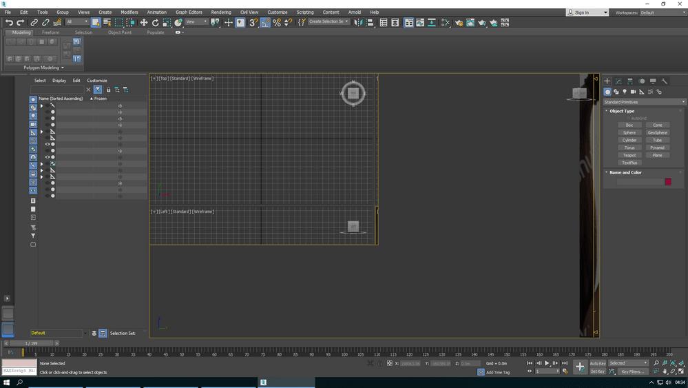 Главное окно системы 3Ds Max 2018