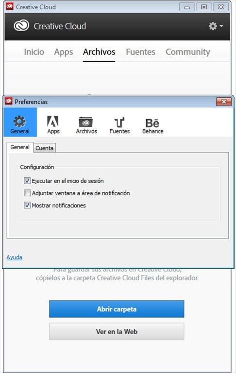 Настройки Adobe Creative Cloud