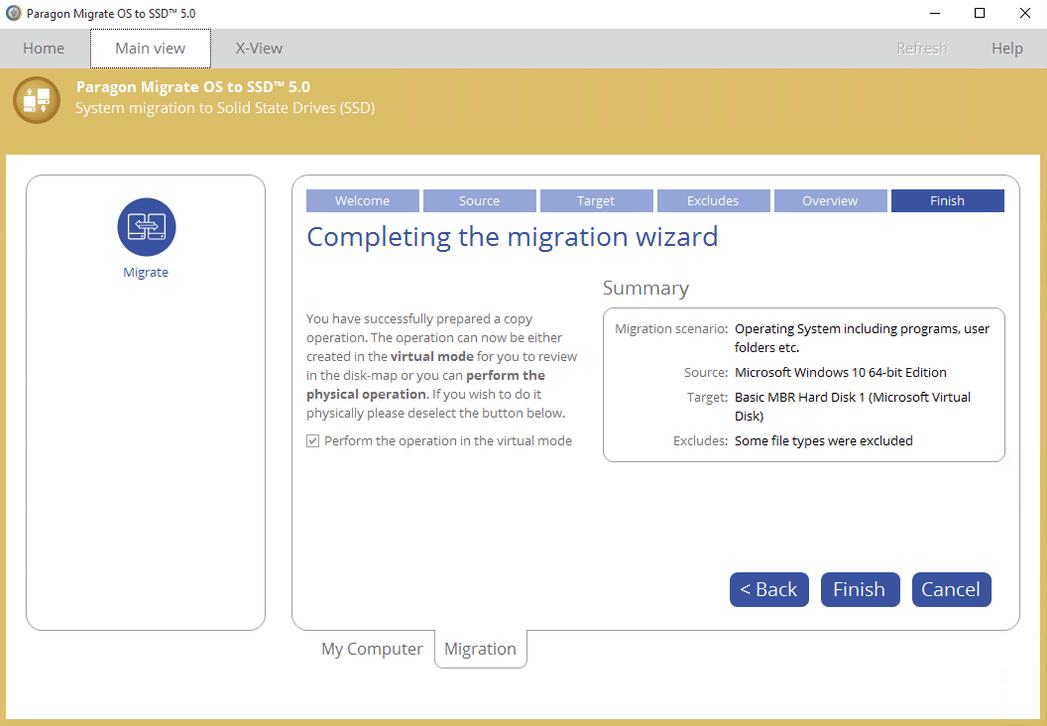 Главное окно программы Paragon Migrate OS to SSD