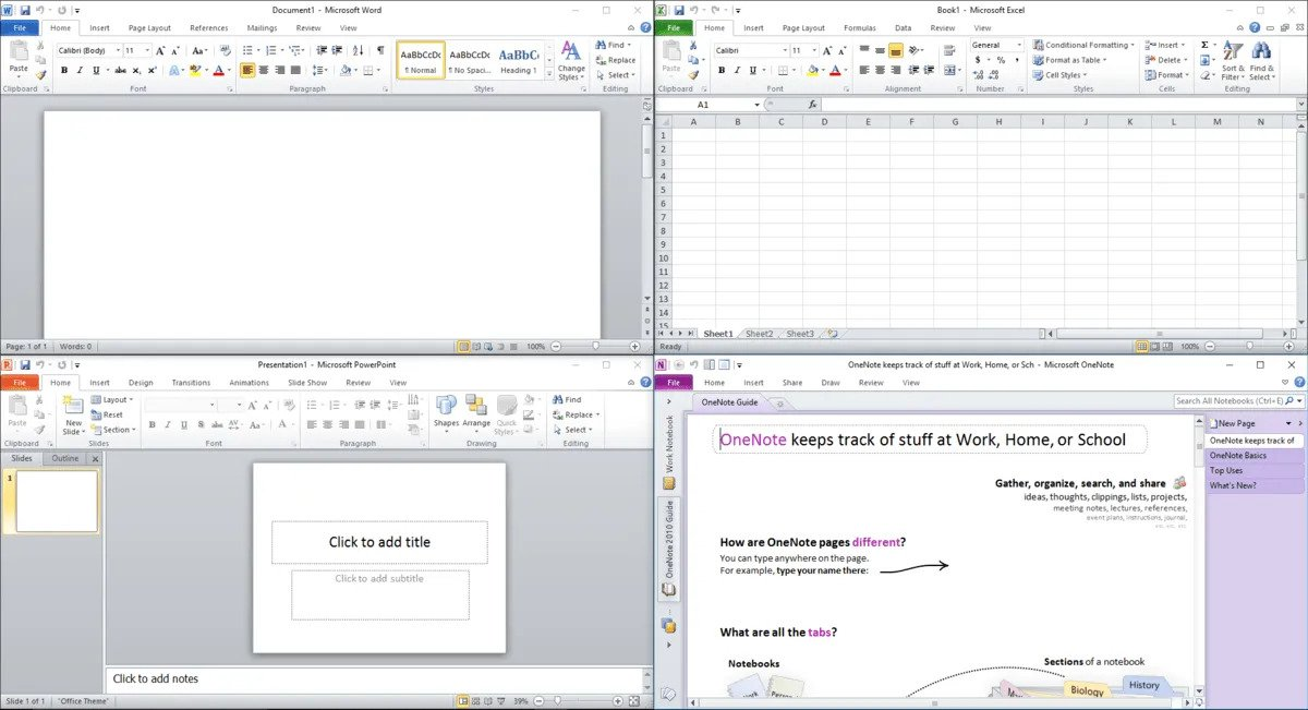 Состав офисного пакета Microsoft Office 2010