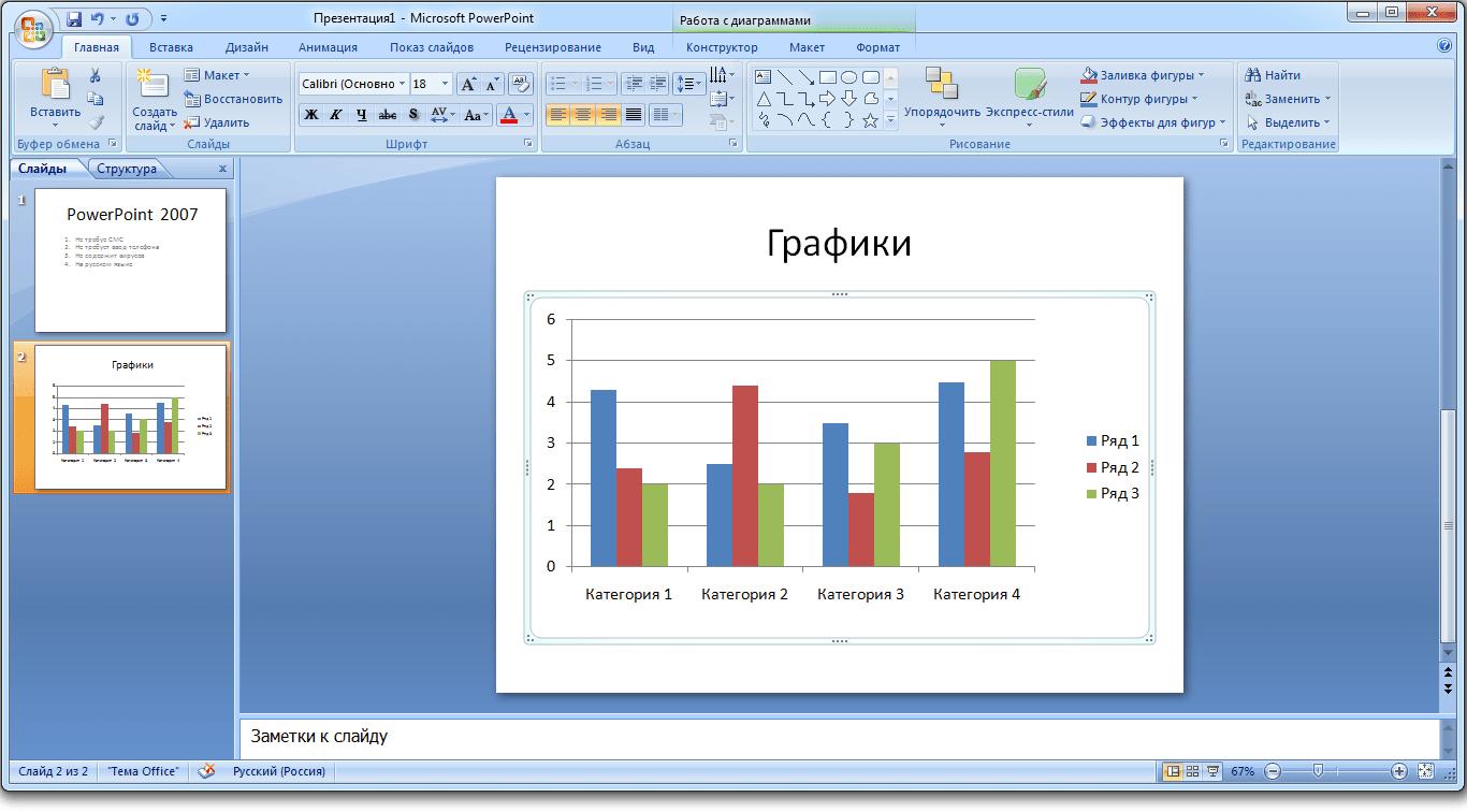 Работа с графиками в программе