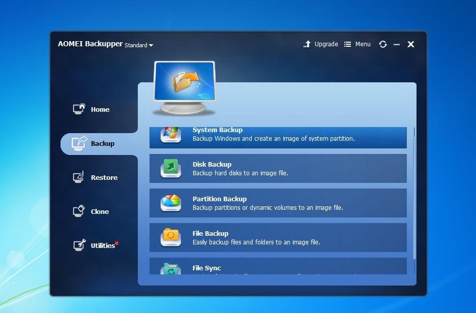 Главное окно системы AOMEI Backupper Standard