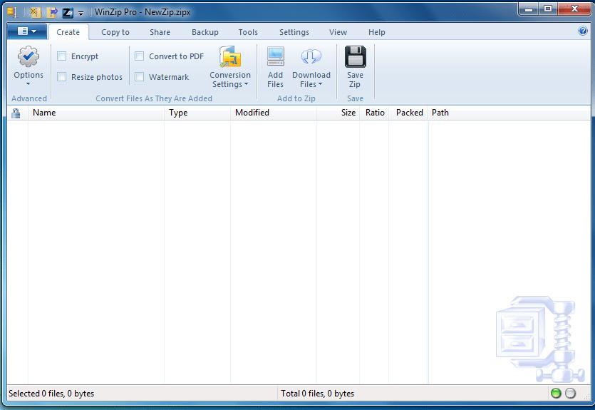 Главное окно архиватора